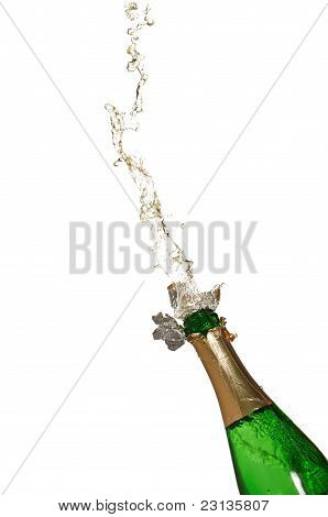 Bottle of champagne with splashes