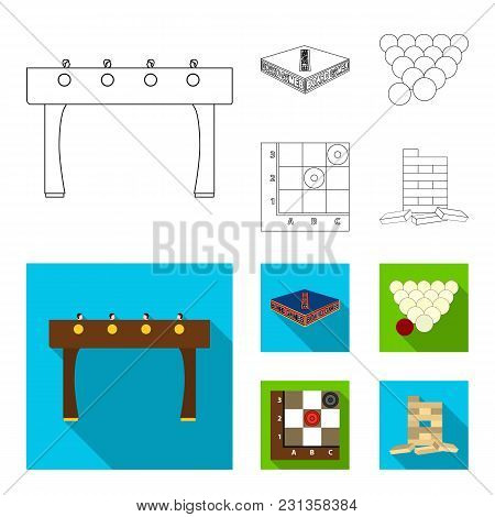 Board Game Outline, Flat Icons In Set Collection For Design. Game And Entertainment Vector Symbol St