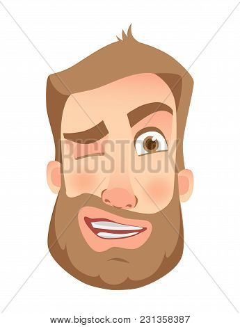 Man Face Expression. Human Emotions. Set Of Cartoon Vector Illustrations. Wink