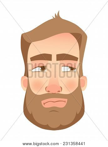 Man Face Expression. Human Emotions. Set Of Cartoon Vector Illustrations. Mistrustful