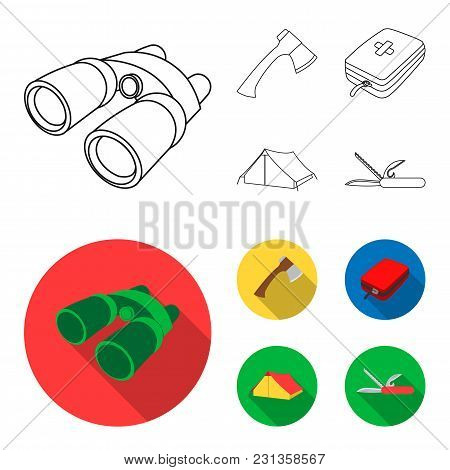 Ax, First-aid Kit, Tourist Tent, Folding Knife. Camping Set Collection Icons In Outline, Flat Style