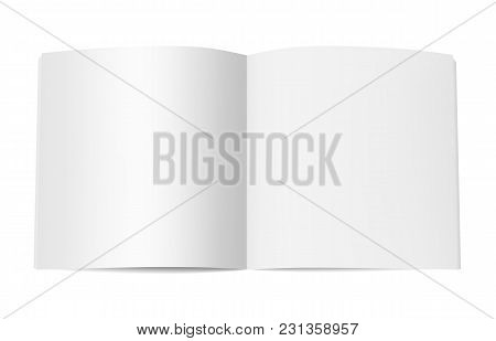 Square Book Booklet Or Magazine Mock Up. Template Of Opened Notepad With Blank Pages Isolated On Whi