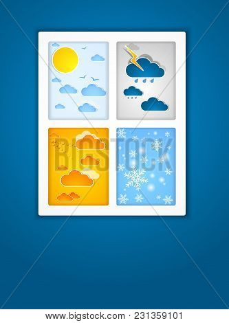 Different Seasons Outside The Window Frame. Vector