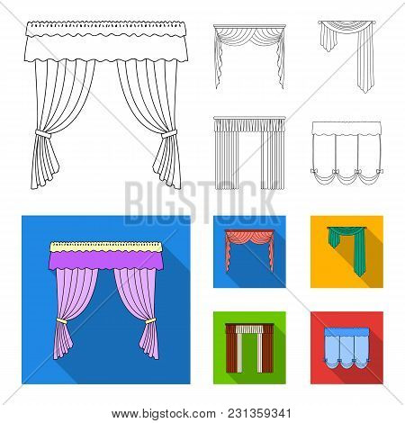 Different Types Of Window Curtains.curtains Set Collection Icons In Outline, Flat Style Vector Symbo