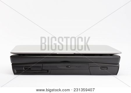 Comparing Of Laptops, New Modern And Old Laptop, Present And Past, Technology Progress Isolated On W