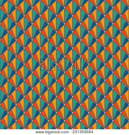 Interlocking Triangles Tessellation. Contemporary Print With Repeated Scallops. Seamless Surface Pat