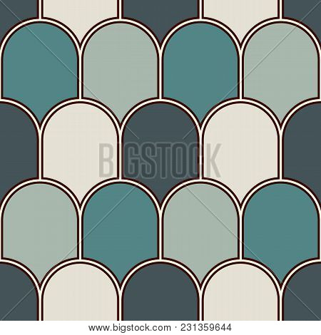 Seamless Surface Pattern With Repeated Scallops. Geometric Figures Abstract Background. Simple Ornam