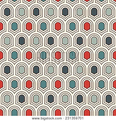 Seamless Surface Pattern With Repeated Ancient Shields. Geometric Figures Abstract Background. Simpl