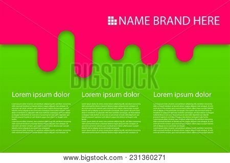 Colored Modern Rounded Background Poster. Round Corners Sweet Summer Poster. Liquid Banner 3d Geomet