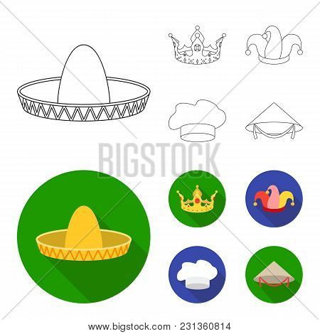 Crown, Jester's Cap, Cook, Cone. Hats Set Collection Icons In Outline,flat Style Vector Symbol Stock
