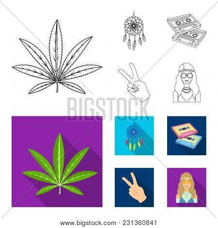 Amulet, Hippie Girl, Freedom Sign, Old Cassette.hippy Set Collection Icons In Outline, Flat Style Ve