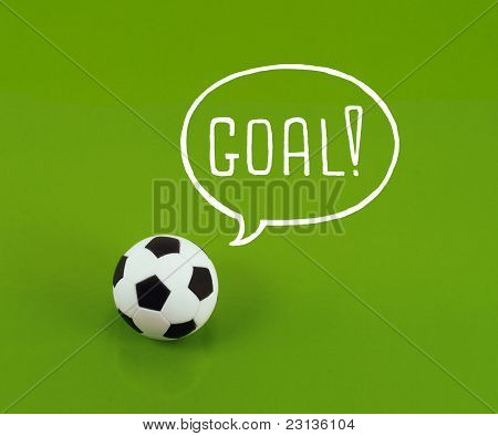 Soccer ball with talk bubble saying goal!