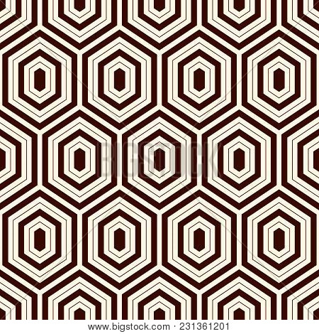 Seamless Pattern With Outline Diamonds. Turtle Shell Motif. Honeycomb Wallpaper. Repeated Rhombuses