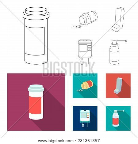 Tablets, Inhaler, Container With Blood, Spray.medicine Set Collection Icons In Outline, Flat Style V