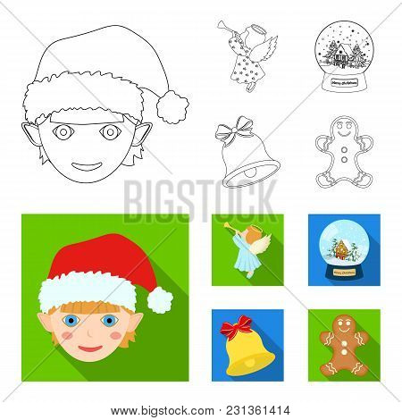 Angel, Glass Bowl, Gingerbread And Bell Outline, Flat Icons In Set Collection For Design. Christmas