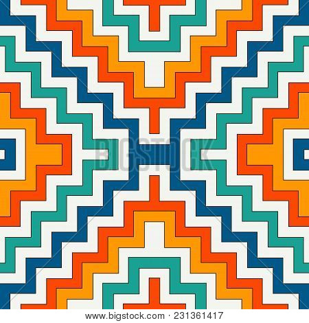 Ethnic Style Seamless Pattern With Chevron Lines. Native Americans Ornamental Background. Tribal Mot
