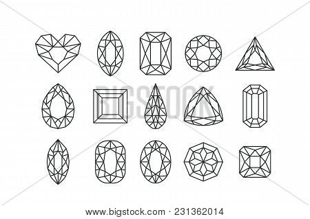 Set Of Vector Line Art Gems And Jewels Isolated On White Background. Linear Diamonds With Different