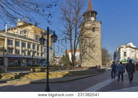 Haskovo, Bulgaria - March 15, 2014: Old Clock Tower In The Center Of City Of Haskovo, Bulgaria