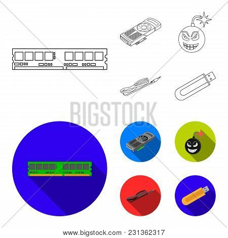 Video Card, Virus, Flash Drive, Cable. Personal Computer Set Collection Icons In Outline, Flat Style