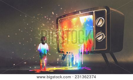 Girl Messed With Colorful Light From The Big Television, Rainbow Paint Drops From Retro Tv, Digital