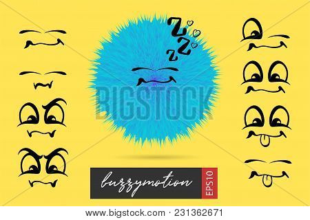Funny Fuzzy Wow Smile Sketch Face. Vector Toy Yellow Background Illustration. Smiling Emotional Cart