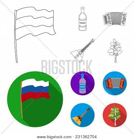 Russia, Country, Vodka, Accordion .russia Country Set Collection Icons In Outline, Flat Style Vector
