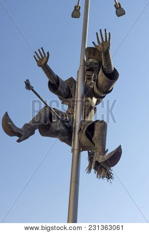 Haskovo, Bulgaria - March 15, 2014: Monument Of Riding Hag ( Baba Yaga) In The Center Of City Of Has