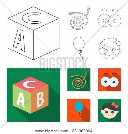 Children's Toy Outline,flat Icons In Set Collection For Design. Game And Bauble Vector Symbol Stock