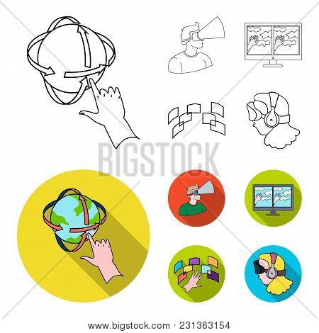 Hand, Monitor, Headphones, Woman .virtual Reality Set Collection Icons In Outline, Flat Style Vector