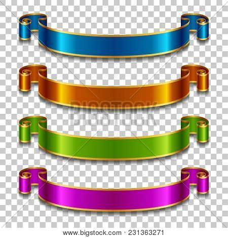 Set Of Silk Ribbons In Different Colors On Transparent Background. Vector Illustration