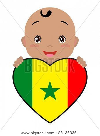 Baby and a Senegal flag in the shape of a heart. Smiling face of a child, symbol of patriotism, independence, travel, emblem of love.