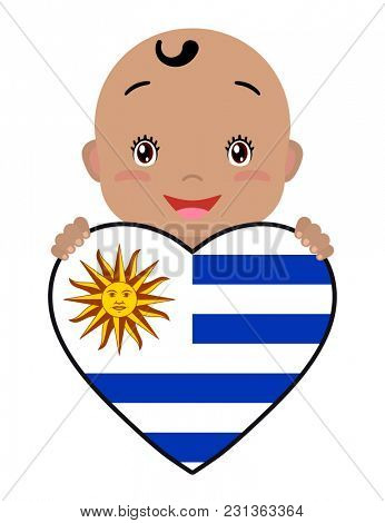 Baby and a Uruguay flag in the shape of a heart. Smiling face of a child, symbol of patriotism, independence, travel, emblem of love.