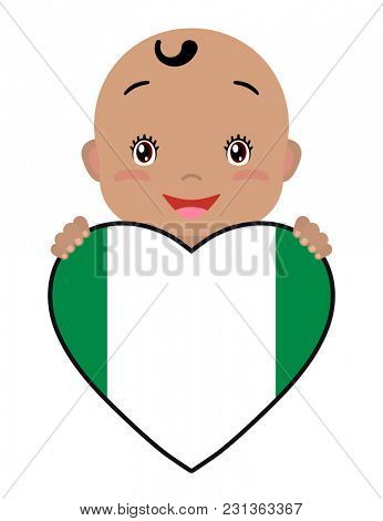 Baby and a Nigeria flag in the shape of a heart. Smiling face of a child, symbol of patriotism, independence, travel, emblem of love.