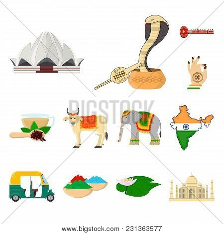 Country India Cartoon Icons In Set Collection For Design.india And Landmark Vector Symbol Stock Illu