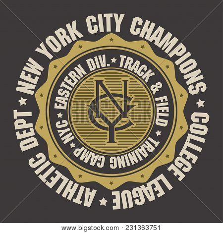 New York City Sport Wear Typography Emblem, T-shirt Stamp Graphics, Tee Print, Athletic Apparel Desi