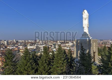 Haskovo, Bulgaria - March 15, 2014: The Biggest Monument Of Virgin Mary In The World And Panorama To