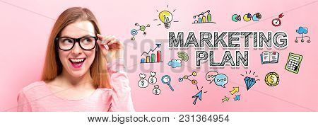 Marketing Plan With Happy Young Woman Holding Her Glasses
