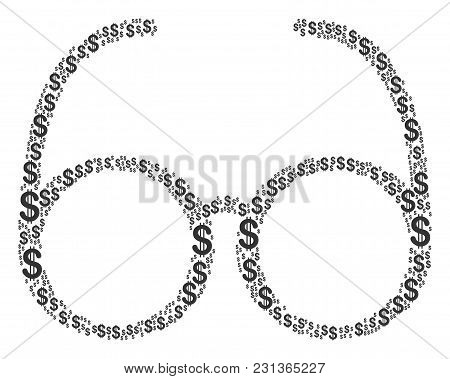 Spectacles Mosaic Of Dollars. Vector Dollar Pictograms Are Organized Into Spectacles Collage.