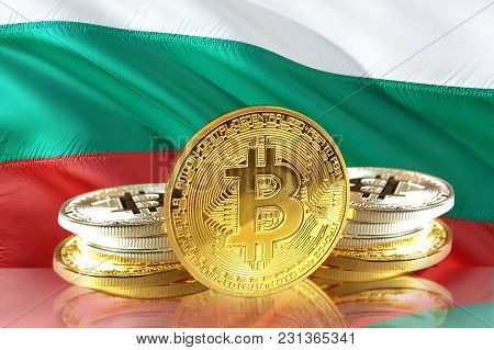 Bitcoin Coins On Bulgaria's Flag, Cryptocurrency, Digital Money Concept Photo