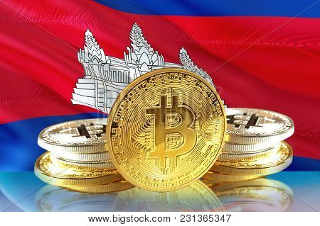 Bitcoin Coins On Cambodia's Flag, Cryptocurrency, Digital Money Concept Photo