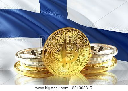 Bitcoin Coins On Finland's Flag, Cryptocurrency, Digital Money Concept Photo