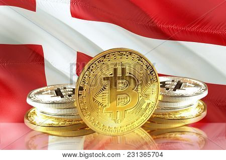 Bitcoin Coins On Denmark's Flag, Cryptocurrency, Digital Money Concept Photo