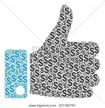 Thumb Up Collage Of Dollar Symbols. Vector Dollar Currency Symbols Are Organized Into Thumb Up Colla