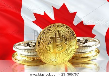 Bitcoin Coins On Canada's Flag, Cryptocurrency, Digital Money Concept Photo