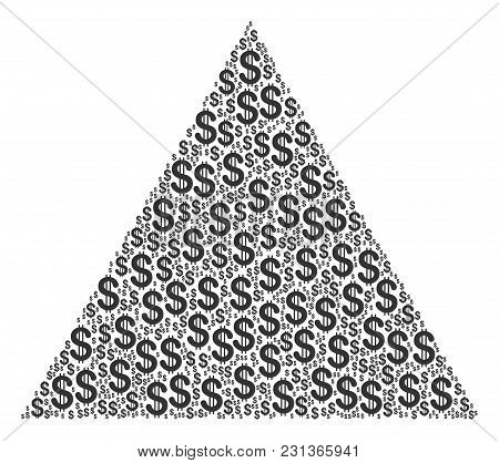 Triangle Figure Collage Of Dollars. Vector Dollar Currency Symbols Are Combined Into Triangle Figure