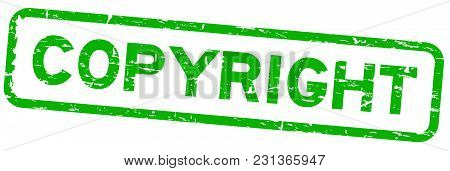 Grunge Green Copyright Square Rubber Seal Stamp On White Background