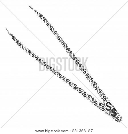 Tweezers Composition Of American Dollars. Vector Dollar Symbols Are Composed Into Tweezers Illustrat