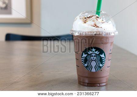 Ayutthaya, Thailand - December 26, 2017 - Starbucks Cold Chocolate Drink With Whip Cream In Plastic