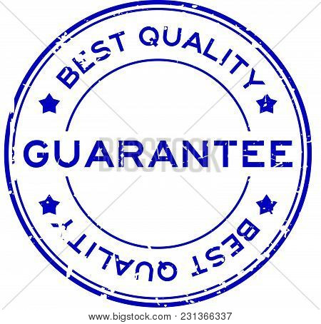 Grunge Blue Best Quality Guarantee Round Rubber Seal Stamp On White Background
