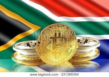 Bitcoin Coins On South Africa's Flag, Cryptocurrency, Digital Money Concept Photo